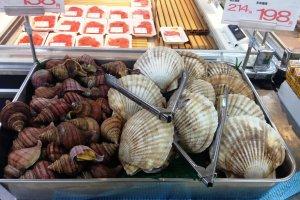 The cold Oyashio Current meets the warm Kuroshio Current near Hokkaido, giving an abundance of seafood. Try some now at Kitahiroshima Co-op markets