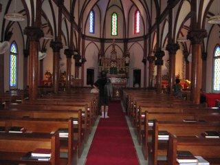 Inside Aosagaura Church, seen from the entrance