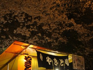 Stalls beneath the sakura trees in full bloom call out for customers at the Yasukuni Shrine in the neighborhood. Food and drinks cannot miss to fully enjoy the blossoms and the party.