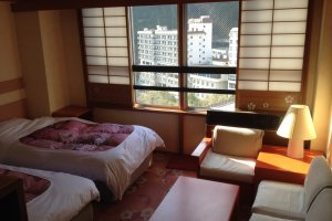 The far side of the room -- notice the beautiful view to the not pictured Kinugawa River immediately below