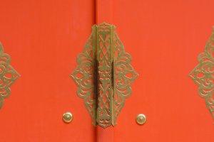Nicely decorated door at the main hall of SumiyoshiShrine