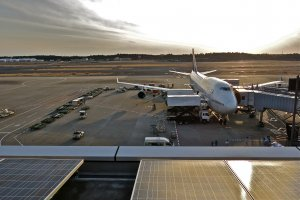 The Observation Deck at Narita Airport Terminal 1 offers unobstructed views of aircraft.