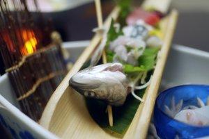 Raw fish sashimi: the most delicious sashimi I have ever tasted.