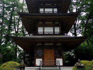 The pagoda has three tiers