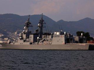 Sasebo Naval Base of the Japan Maritime Self-Defense Force. This is the Akizuki DD115 Destroyer