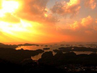 Beautiful sunset viewed from Tenkaiho Park