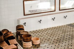 Interior of the same bathhouse, very elaborately staged with great attention to details