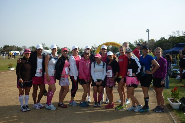 WOOT (Women on Okinawa Trails) members getting ready to race the half marathon