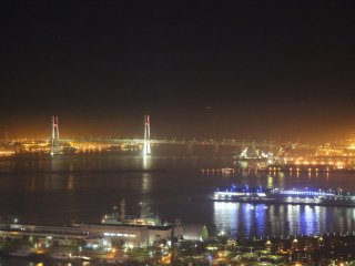 Night view from 'see through' gondola - photo taken during the ride - Close up of Bay Bridge