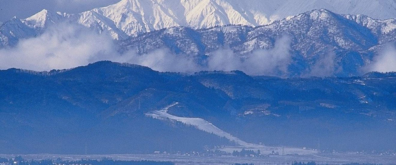 Winter snows cover the surrounding mountains