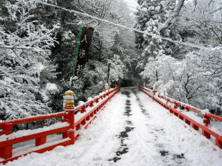 Honkokuji's red bridge over Biwako Canal looked beautiful in the white snow