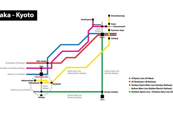 ภาพแสดงเส้นทางรถไฟสายต่างๆ ที่เชื่อมระหว่างสองเมืองใหญ่แห่งคันไซ โอซาก้า-เกียวโต