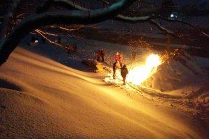 A bonfire along the river