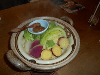 Fresh vegetables of Hiyori restaurant