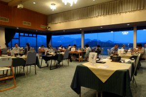 The dining room boasts lovely views of Hagi's sea and mountains