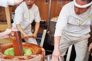 The experts pummel away at the mochi with unbelievable speed and accuracy.