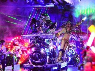 A DJ robot cruising through the center