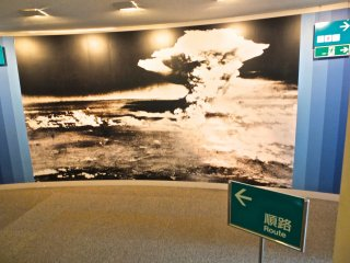 Large photo of the explosion greets us at the entrance of the Hiroshima Peace Memorial Museum