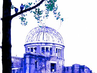 Doves on a tree in front of the dome:Hiroshima's Atomic Bomb Dome