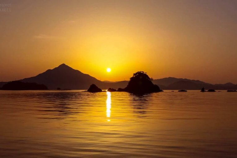 Pôr-do-sol em Wakasa Fuji