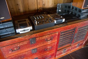 Antique furniture with a DJ booth