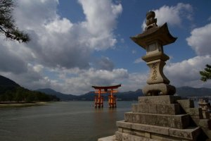 "The iconic ""floating torii"" at Itsukushima Shrine in Hiroshima"