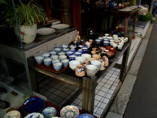 Even though this street offers mostly modern furniture, tradition in Japan is never lacking