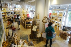 The shop downstairs sells English specialty foods
