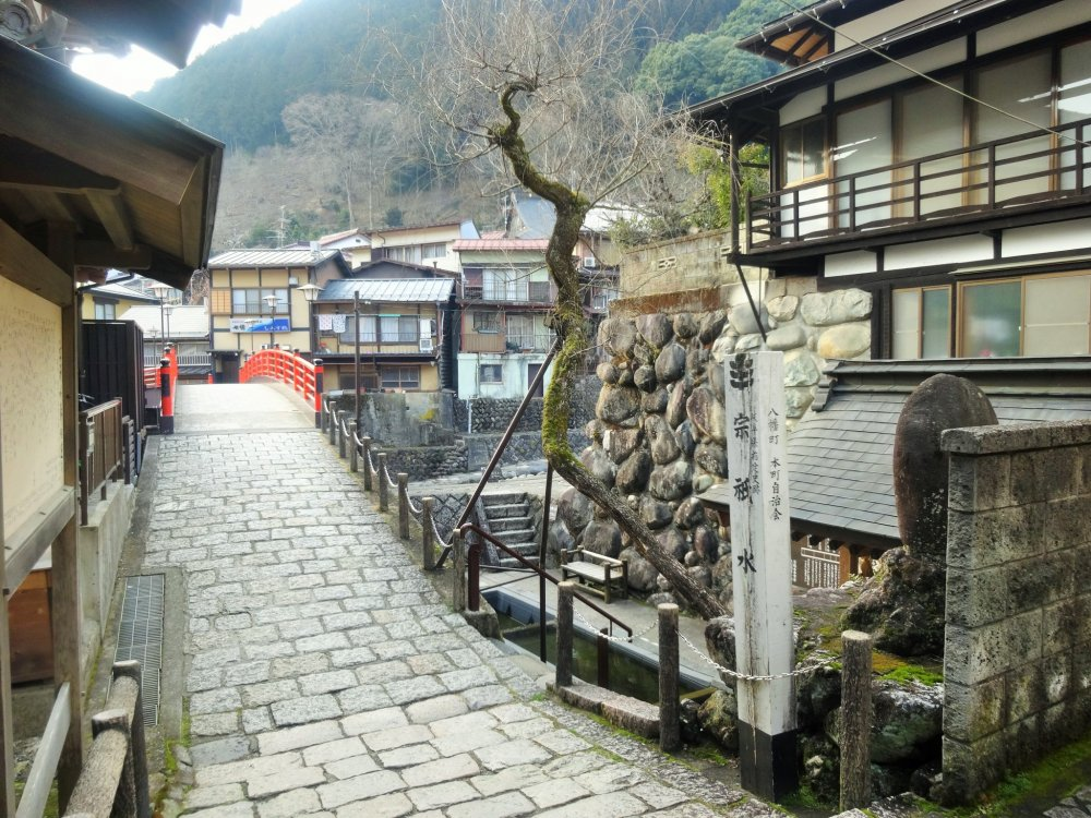 The cobbled street near Sogi Sui, a water spring where locals once washed clothes and vegetables
