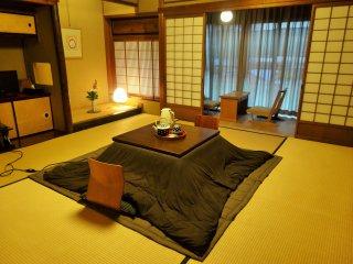 A spacious, comfortable room at the Nakashimaya Ryokan in central Gujo Hachiman