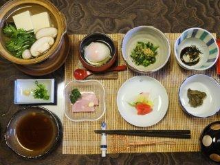 Breakfast is a sizable spread at Nakashimaya Ryokan