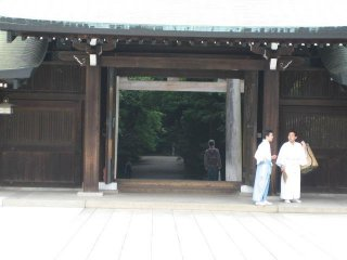 In traditional clothes outside