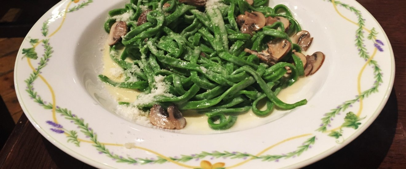 Delicious spinach fettuccine in mushroom cream sauce