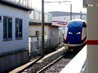 The mini-Shinkansen stopping at Yamagata station