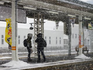 Snowy day at the train station