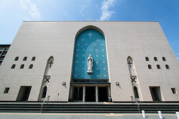 Minimalist and simple exterior of the church