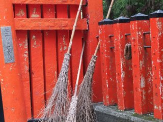 Close-up on the brooms