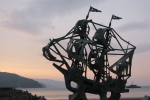 One of the sculptures on the seafront of Ito