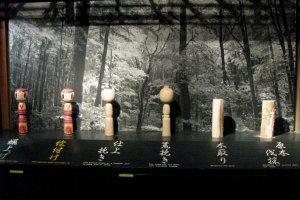 The display of Kokeshi making process