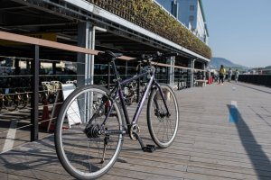 My bike for the day from Onomichi port, the rental section is in the background