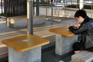 Enjoy one of the many free onsen footbaths around town