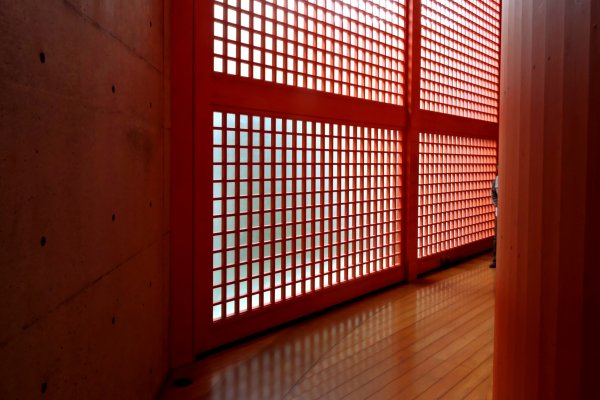 Natural light through red lattice