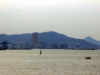Symbol Tower, Sunport, Takamatsu Port, and downtown