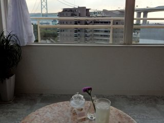 Enjoying a drink and the view