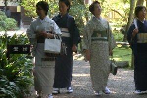 Women in kimonos strolling at Akishinodera