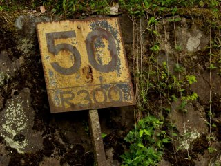Old speed sign rusting away.