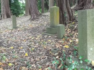 Grave markers in the woods on the hill