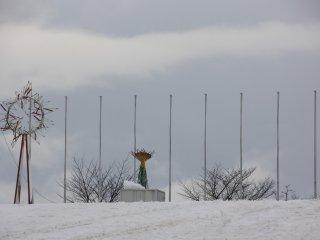 Zoom sur le chaudron Olympique qui se trouve au pied du tremplin