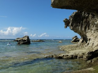 Clear water, full of sea urchin and crabs.. pay attention as to where you put your foot!