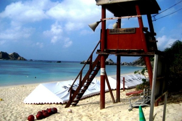 Lifeguards watch over this Aharen Beach during summer and autumn